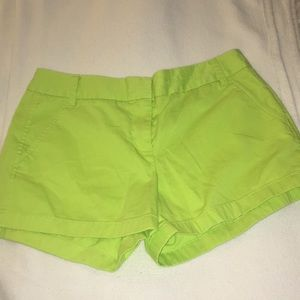 """J.Crew bright yellow/ green """"Chino"""" shorts"""